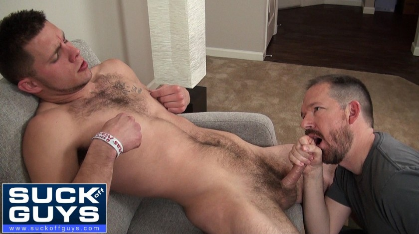 Hairy men eating cum