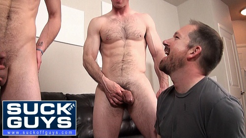 Seth Swallows the Cum from 2 Straight Guys