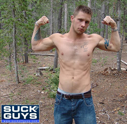 Walker Michaels Flexes His Muscles Before the Tent Suckoff