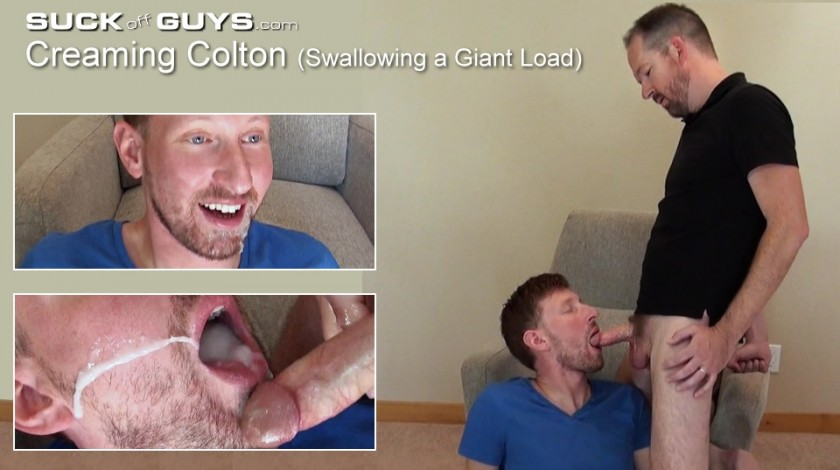 Creaming Colton (Swallowing a Giant Load)